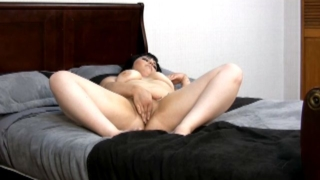 Pierced brunette exgirlfriend Candi masturbating her petite shaved pussy in bedroom