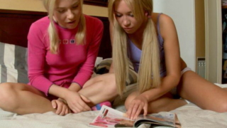 Pigtailed blond European teen girls Lindsey and Irina getting nasty in the bedroom