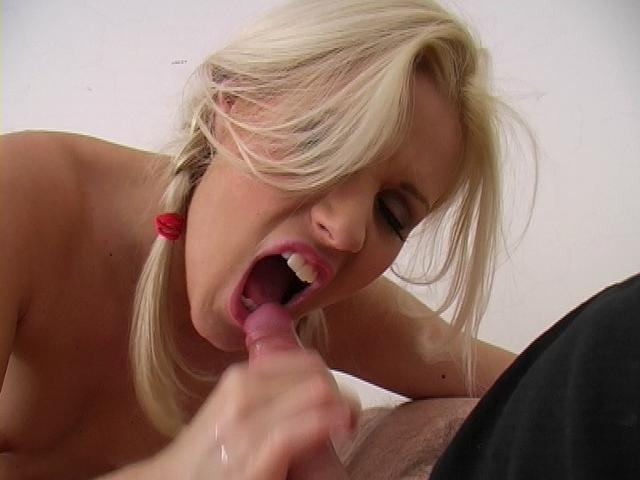 Pigtailed blonde babe Sarah Blue gives blowjob and gets facial cumshoted