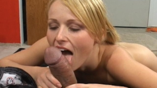 Pigtailed blonde honey Sharon sucking an impossible black dong on her knees