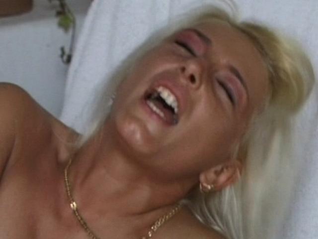 Platinum blond amateur slut getting slit humped from behind