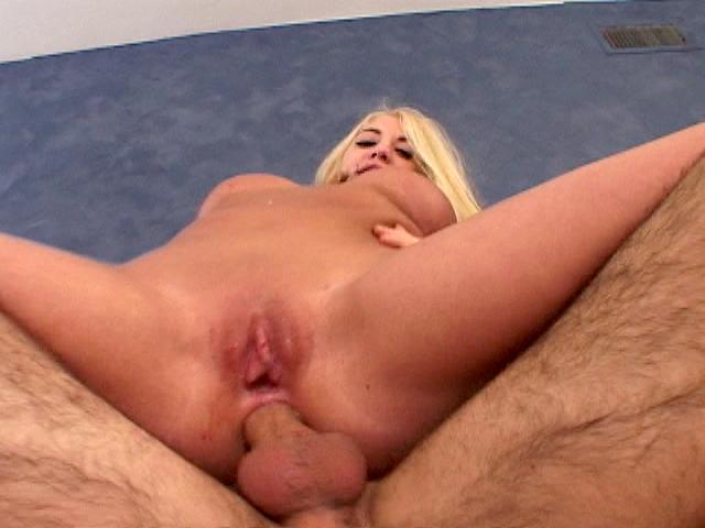 Platinum blonde army babe Britney Madison riding anally a giant phallus