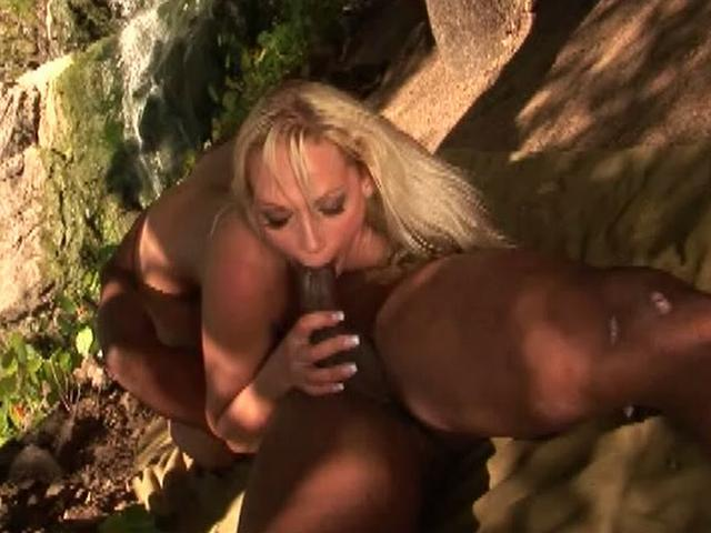 Platinum blonde bitch Nikki Hunter sucking a massive black shaft outdoors