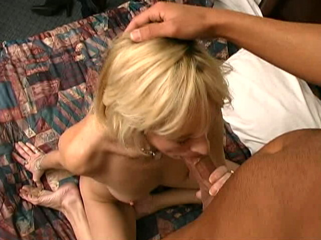 Platinum blonde grandma Kari sucking a monster young dick on her knees