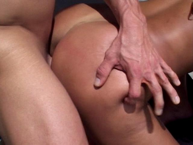 Playful latina babe Amanda getting fucked doggy style in a threesome