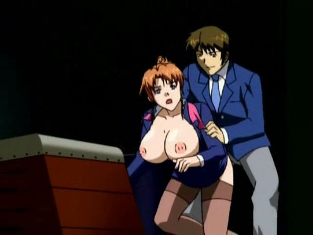 Ponytailed redhead hentai bitch with large breasts gets fucked doggy style in the office