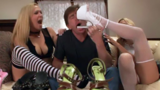 Pornstars Play Footsie With A Cock