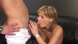 Precious Blond Babe Angel Sucking With Lust A Giant Schlong On The Couch