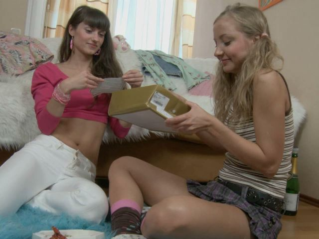 Precious teen lesbians Bonny And Alice drinking champagne on their 18 birthday party