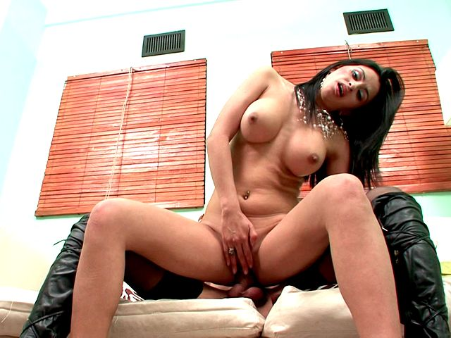Pretty busty whore Maria riding shemale Celeste's monster penis on the couch