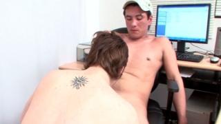 Randy brunette twink Ariel sucking Ivan's gigantic phallus on his knees