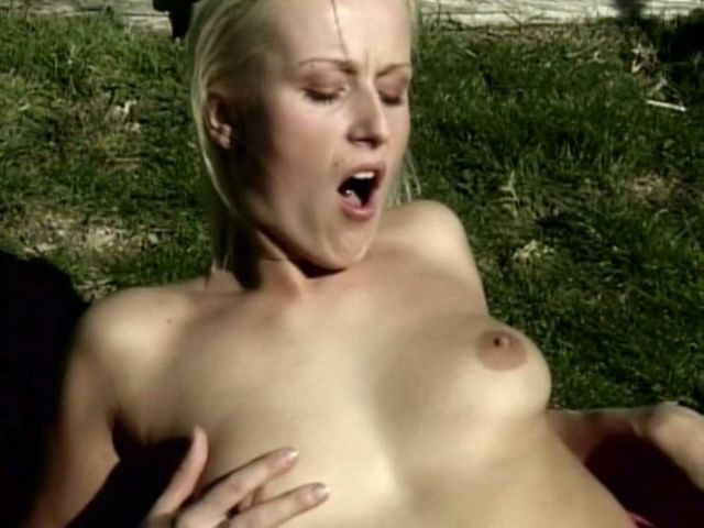 Raunchy amateur girl Sharon Wild getting bald pussy licked outdoors