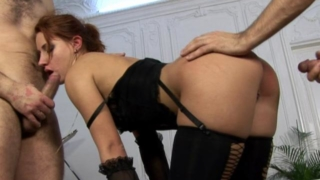 Red Haired Bitch In Stockings Getting Double Fucked