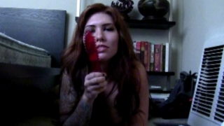 Redhead Amateur Stunner Daphney Sucking A Red Dildo On The Floor