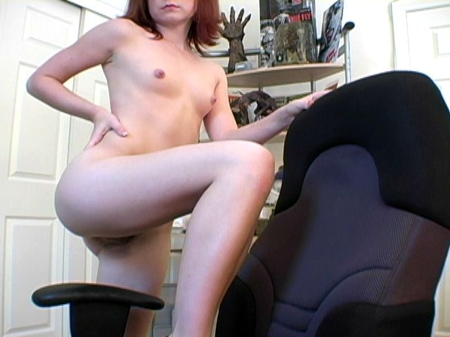 Redheaded exgirlfriend slut Annabella showing her small boobies on web camera