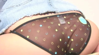 Redheaded Teen Babe In Mini Jeans Skirt Tricia Spanking Her Booty On Camera