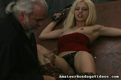 Restrained blonde