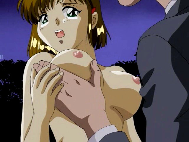 Scared hentai babe gets her pussy banged in the dark park