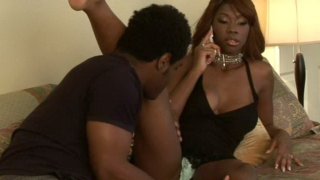 Seductive black pornstar Jackie Brown getting black pussy licked hard in the bedroom