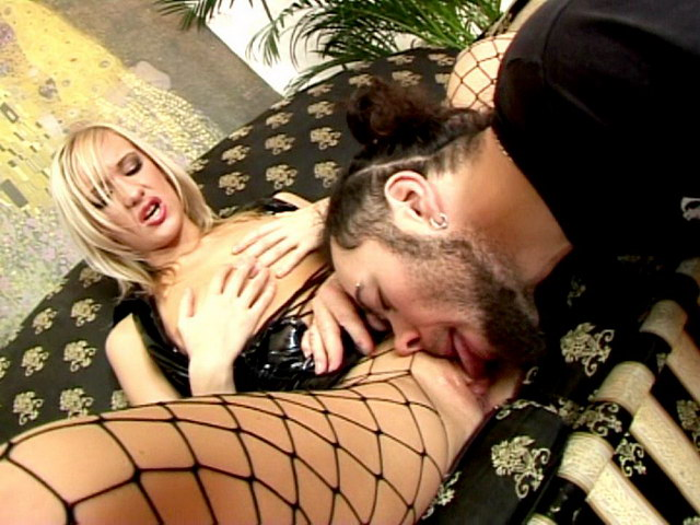 Seductive blonde Russian slag in latex dress Belinda gets wet beaver licked hard on the couch Erotic Russians XXX Porn Tube Video Image