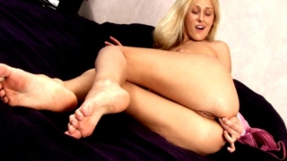 Seductive Blonde Teenage Honey Kate Masturbating Slick Cunt With A Lollipop