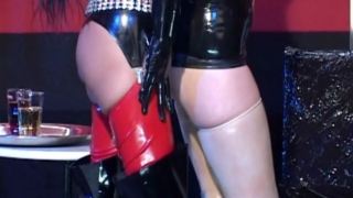 Seductive lesbian slave Vaneckova Zadlo having erotic sex with a hot mistress in latex dress