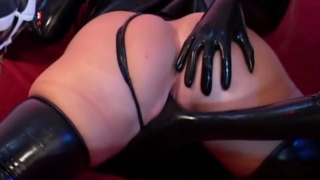 Seductive sapphic babes masturbating quims with rubber clothes
