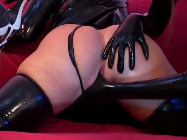 Seductive sapphic babes masturbating quims with rubber clothes Dungeon Masters XXX Porn Tube Video Image