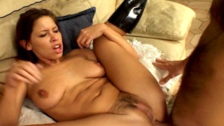 Sensational brunette army hooker Haley Paige getting anally hammered by a sergeant