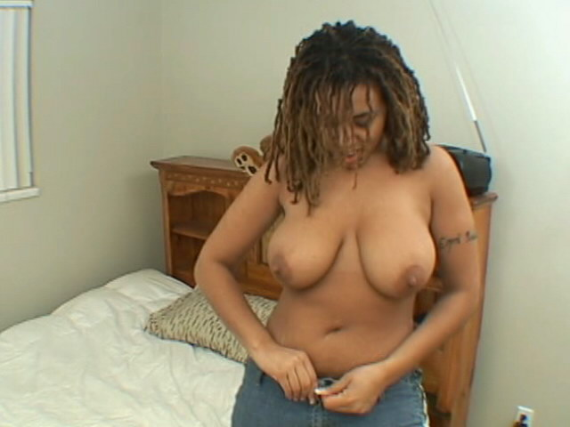 Sensational ebony nymphet Whitney strips bra and plays with her massive big tits
