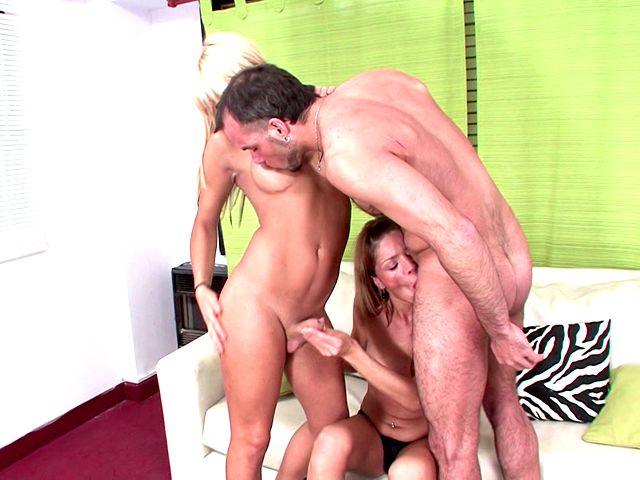Sensual blonde shemale sluts Kate And Melina playing with a hairy dude's giant pecker
