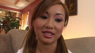 Sensuous asian cutie Tia Tanaka gets sexy breasts licked and pussy fingered