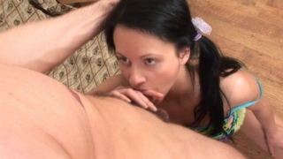 Sex-hungry brunette tastes her first cock