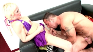 Sexual blonde shemale cheerleader Mia Rivers dancing and showing butt upskirt