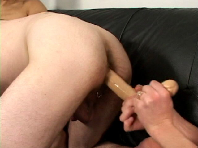 Sexual gay Russ getting anally dildoed and fucked by a large dick in a threesome