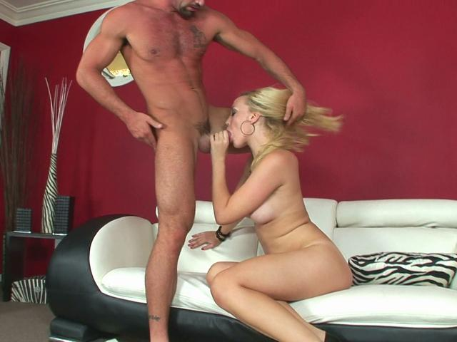 Sexy blonde pornstar Annette Schwarz sucks this dick and makes it wood hard