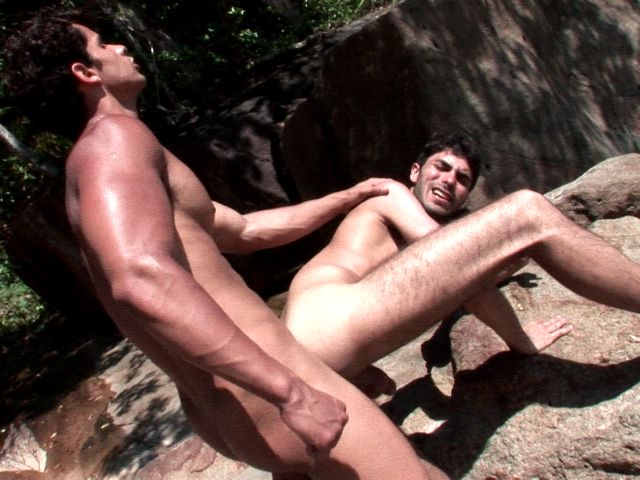 Sexy brunette amateur gay Kaike getting ass screwed by handsome Junior Bastos on an island