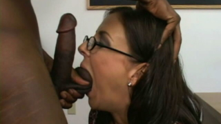 Sexy brunette teacher Maria Bellucci sucking student`s big black phallus on her knees