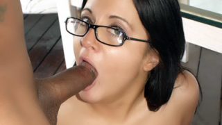 Sexy Girl With Glasses Sucking a Black Cock