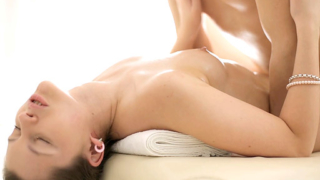 Sexy Nina climbs on top of her massage therapist and grabs his cock