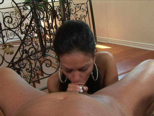 Sexy tanned Angelina Valentine sucks this massive prick