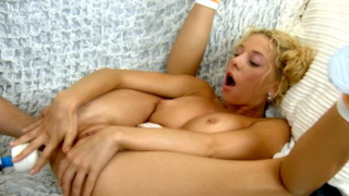 Shameless Blond Teenage Babe Bryana Getting Ass Vibrated On The Couch