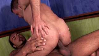 Shameless brunette gay Sandra gives deep throat and rides anally Matheus's giant penis