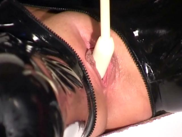 Shameless slaves gets pussies fucked hard by a naughty mistress in latex