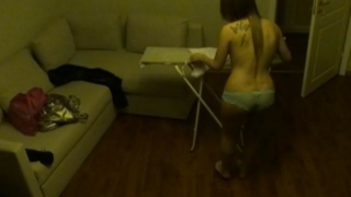 Shameless voyeur amateur Viola iron her clothes topless