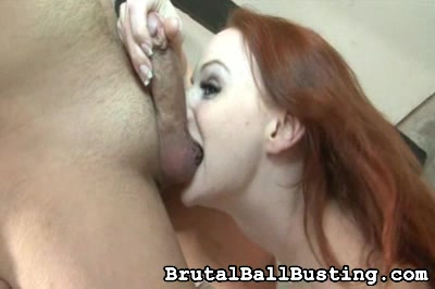She obviously enjoys sucking cock. Brutal Ball Busting XXX Porn Tube Video Image