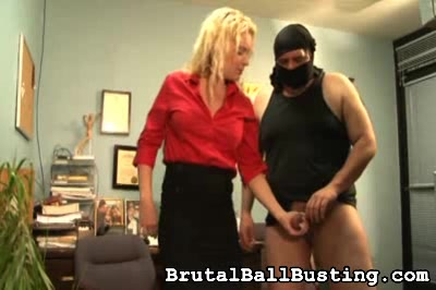 She seems to love doubling him over in pain. Brutal Ball Busting XXX Porn Tube Video Image