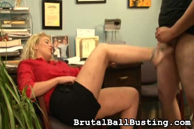 she wears her tats like badges. Brutal Ball Busting XXX Porn Tube Video Image