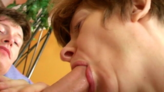 Short Haired Granny Anna Licking And Sucking A Thick Penis On Her Knees