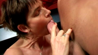 Short Haired Horny Granny Marketa Gives Blowjob On Her Knees